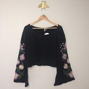 ASOS Crop Sweatshirt with Embroidered Bell Sleeves